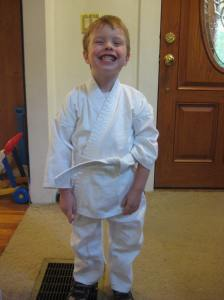 Happy to have his own gi