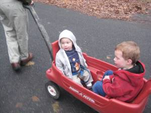 Thane LOVED our friend's wagon.     Sadly, Adam hated it.