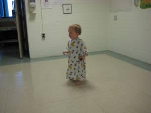 In his scrubs, waiting his turn