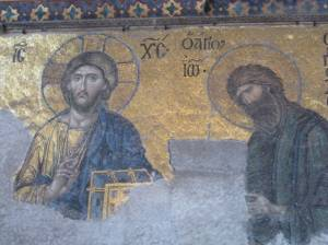 John the Baptist and Jesus in Hagia Sophia