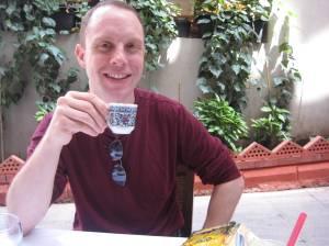 Adam enjoys some turkish coffee