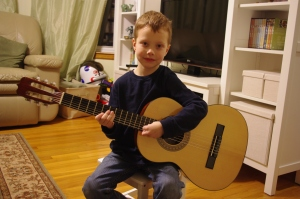 A boy and his guitar