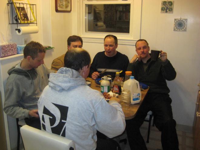Men. With pancakes.
