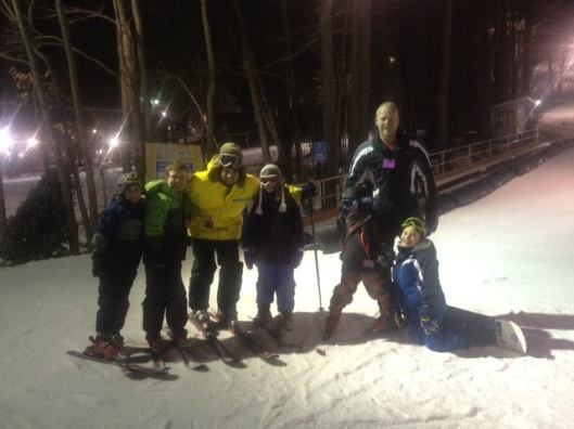The Y teachers/ski instructors are freaking saints. My two lunatics are on the left.