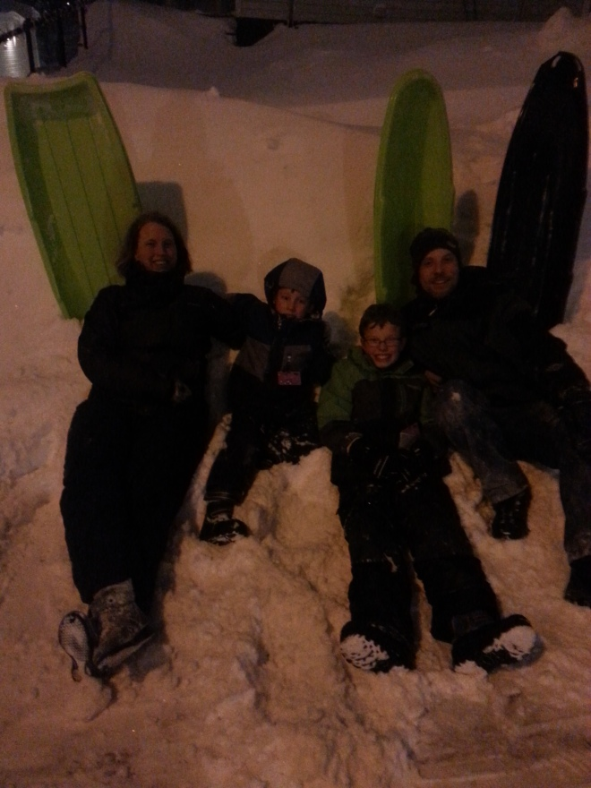 My boys and I on the slopes of our street