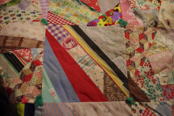 This block has no fewer than 12 different fabrics