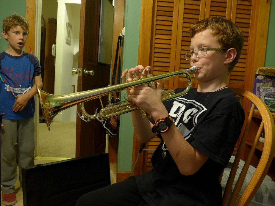 Grey's first day on trumpet.