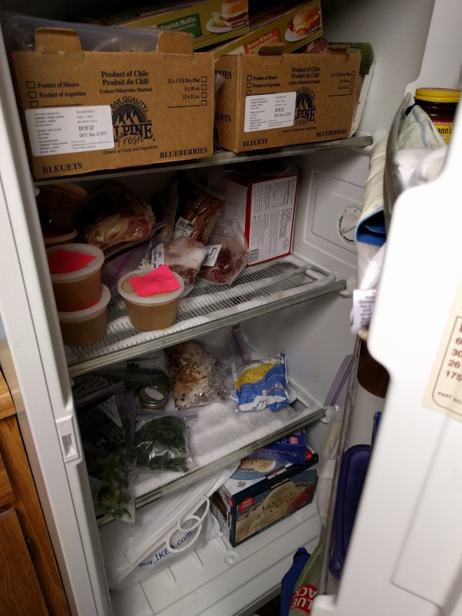 Downstairs freezer. Those cardboard boxes at the top are completely filled with meat - ground turkey, chicken breasts, pork tenderloin, and some random cuts of meat from a meat share last year