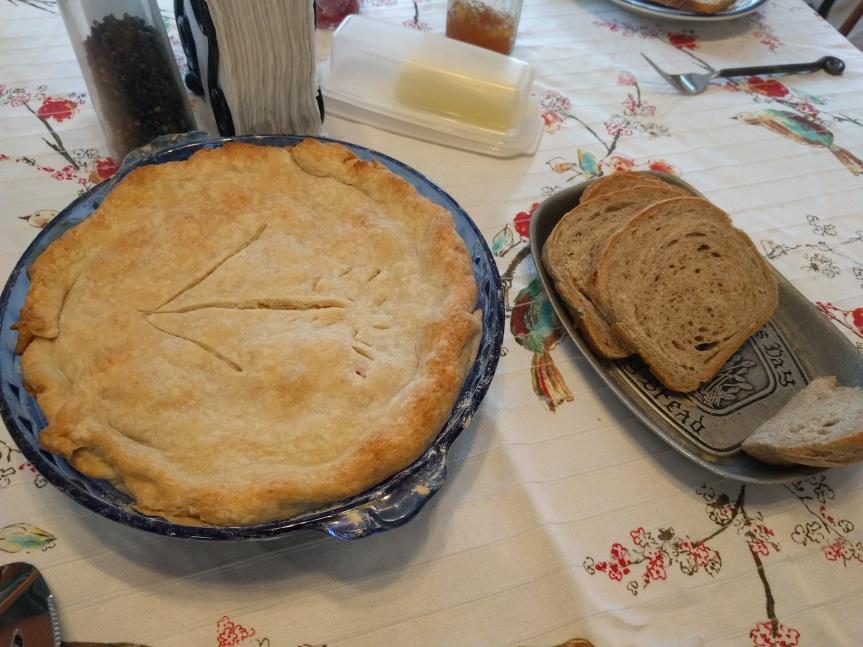 Pot pie and bread