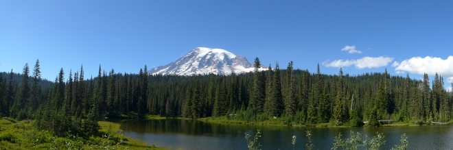 Mt. Rainier reflection panoramic. True color - no filter.