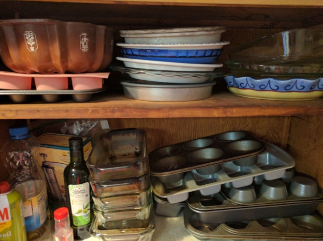 My pie plate collection. Many of my standard pies have standard pie plates they get made in every year.