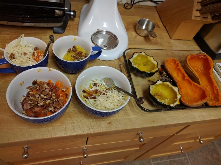 Butternut or acorn, bacon or vegetarian, asiago or gruyere