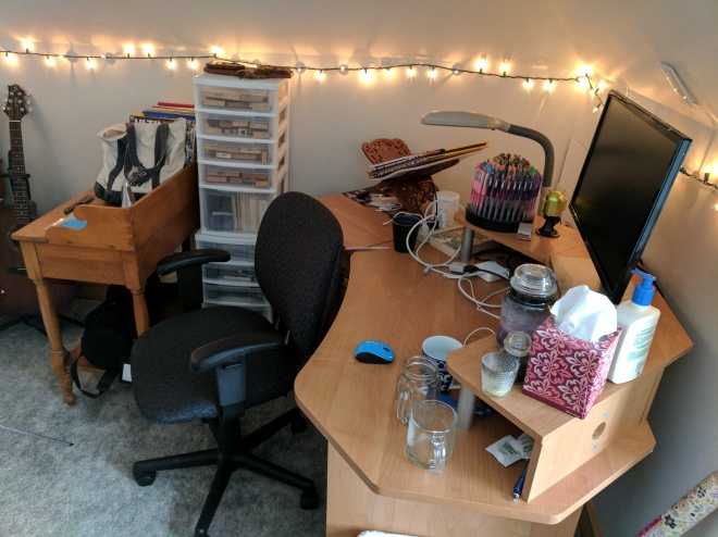 The workdesk - primarily for computing but also for scrapbooking/stamping
