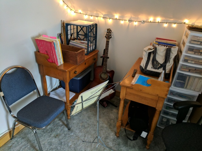 The music alcove - the first time I've had all my instruments and music in one spot