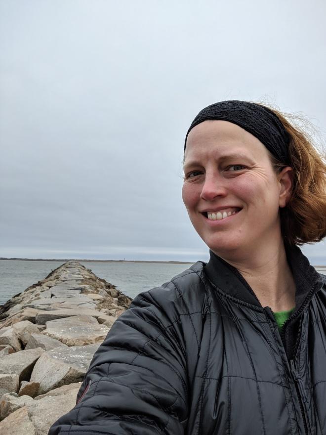 Me, on a stone breakwater